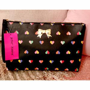 Betsey Johnson Heart Print Wristlet Clutch Handbag